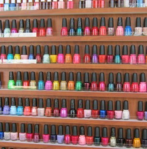 Essential Day Spa has polish in every color of the rainbow -- and then some. Photo courtesy Catie Currie.