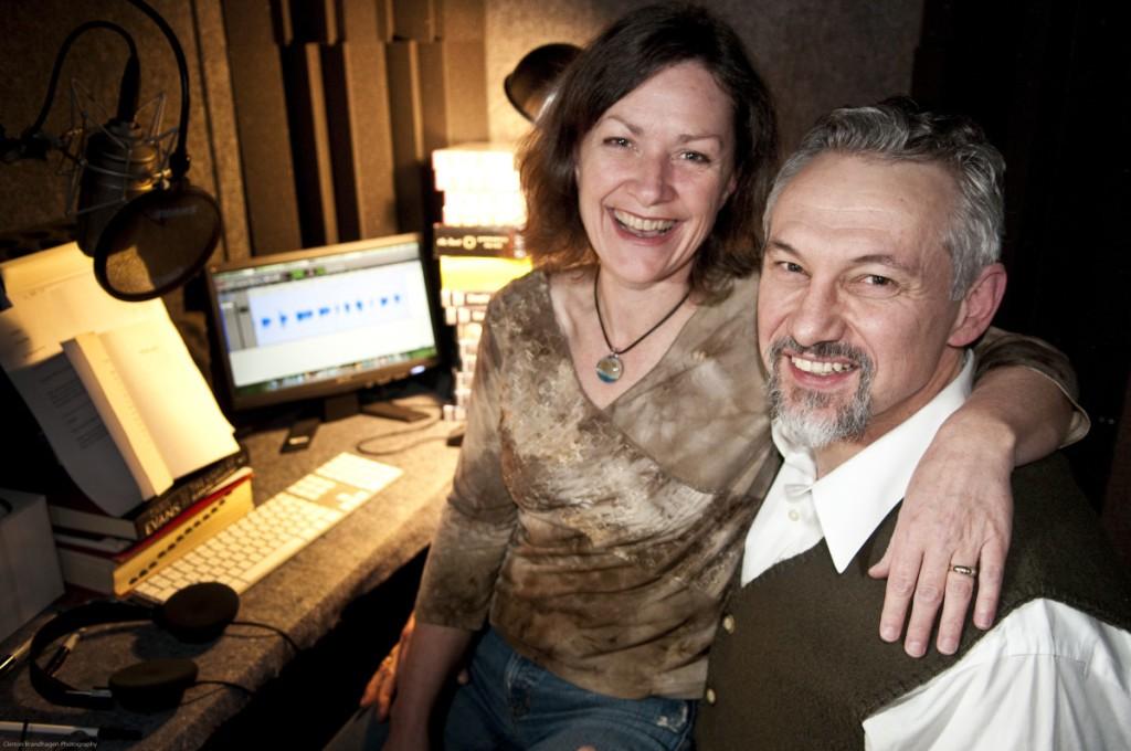 Jennifer Mendenhall and Michael Kramer in their home recording studio. Photo courtesy Clinton Brandhagen.