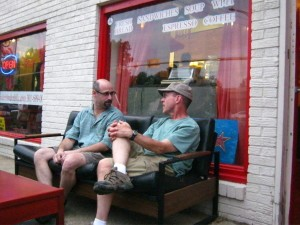 Stuart Eisenberg and David Roeder enjoy the alfresco seating at Rhode Island Reds. Photo courtesy Susie Currie (2011).