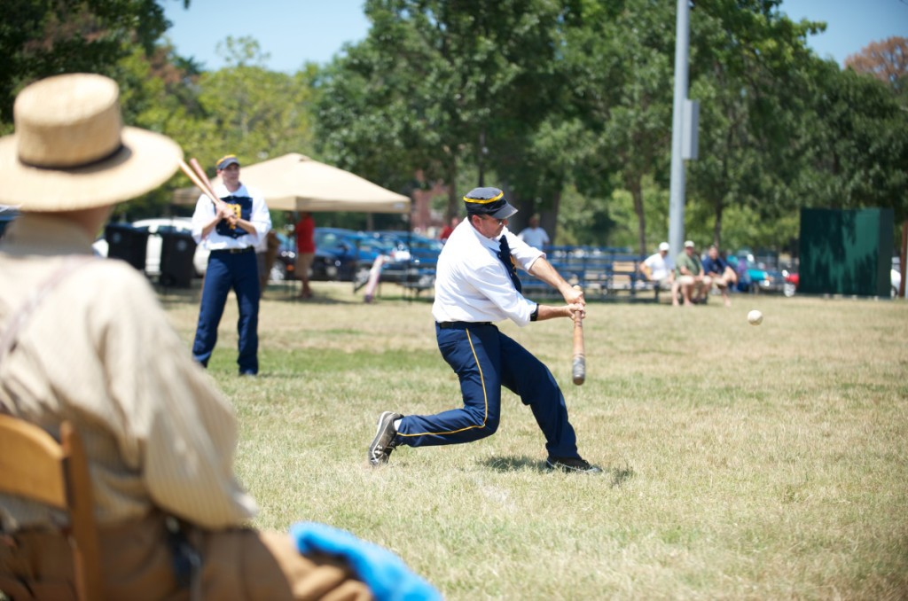 """Jeff """"Pipes"""" Hornberger of Annapolis goes to bat in a Vintage Base Ball League game at Magruder Park on July 31, 2011. Teams play by 1860s rules, with period uniforms and equipment (but no gloves). Photo courtesy William Jenne."""