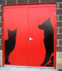 The delivery entrance for the Big Bad Woof uses no words. Photo courtesy Susie Currie (2011).