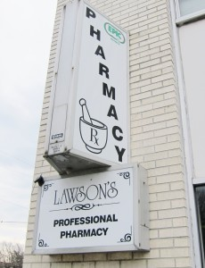 Lawson's Pharmacy sign