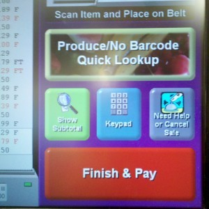 At the Giant on East-West Highway, the self-checkout touchscreen is a familiar sight to many shoppers.  Photo courtesy Susie Currie.