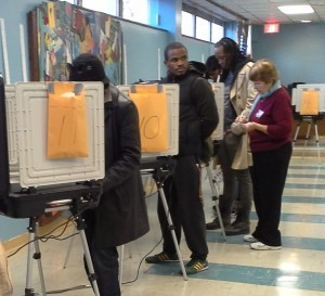 Perhaps this voter, at the Hyattsville Library polling place during the 2012 election, was as confused as we were by the ballot language. Photo courtesy Susie Currie
