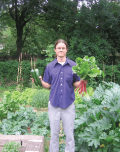 Joe Ludes with some of last summer's bounty from his double-lot garden  on 44th Avenue. Photo by Jeannette Soon-Ludes.