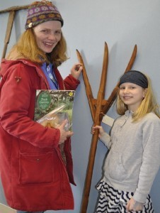 Hyattsville gardener Geraldine Hall and daughter Caelan Rice (9) get a close-up look at antique tools at the HHS's Fourth Annual Hart Seed Sale.  Photo courtesy Deidre McQuade.