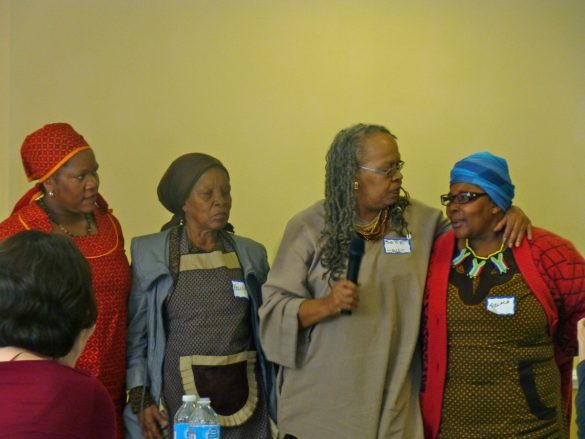 Hyattsville's Bette Dickerson (2nd from right) stands with three of the Grandmothers Against Poverty and AIDS (GAPA), a South African advocacy group, who were the guests of honor at a luncheon at the Hyattsville Municipal Building. (September 25, 2013)