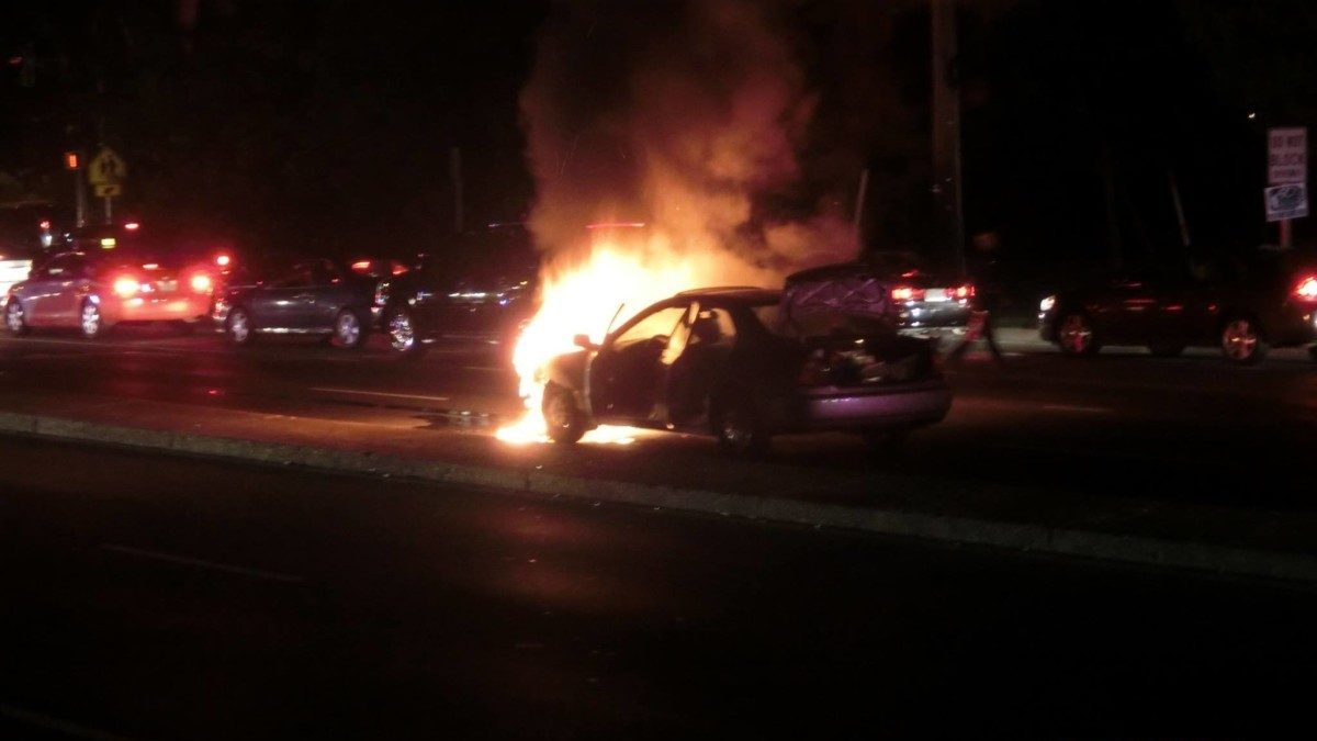 Car fire stops traffic on East West Highway