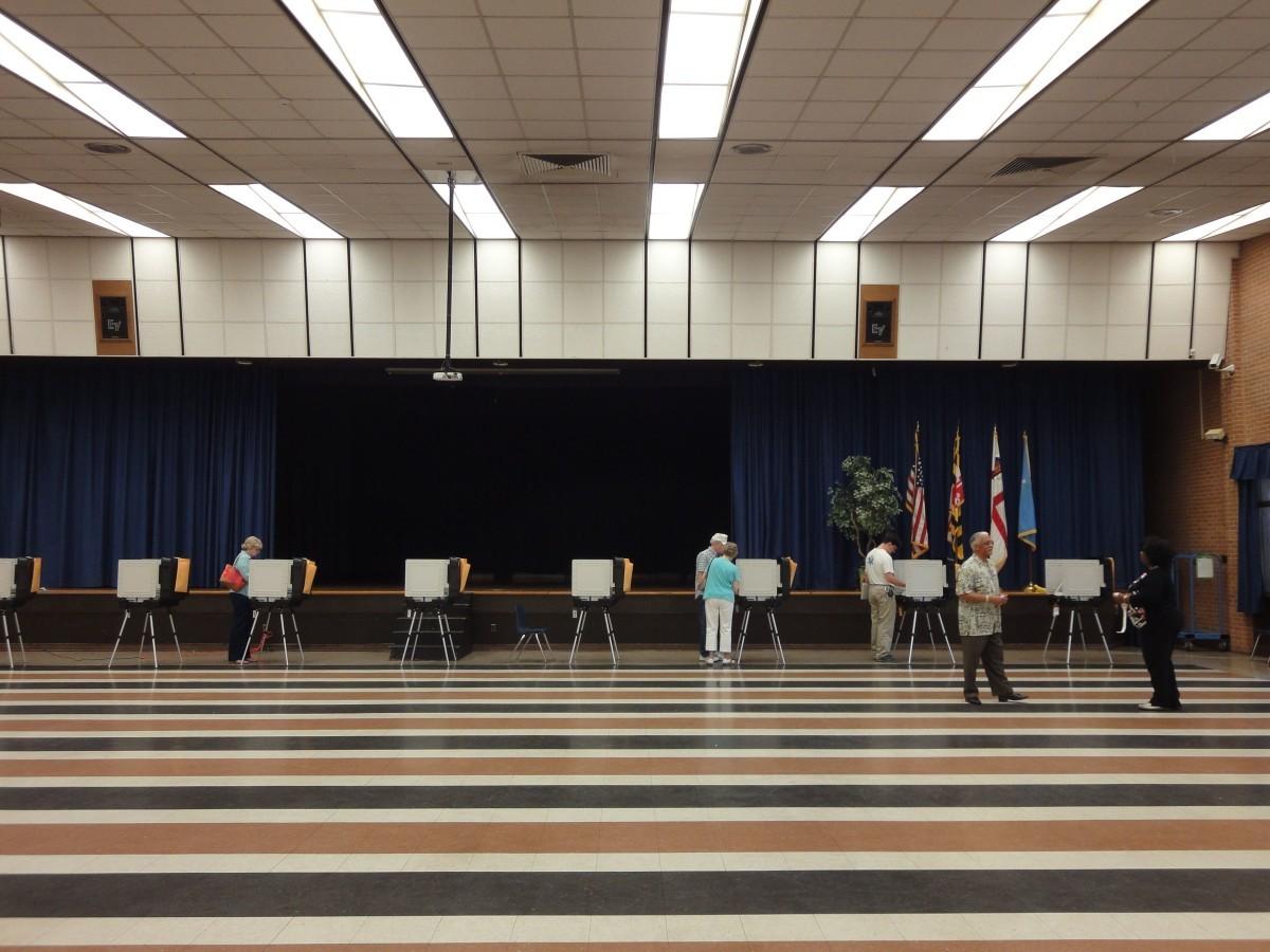 Hyattsville Middle School, polling site for Precinct 1603, was relatively quiet at 5:20 p.m. Photo courtesy Katy June-Friesen.