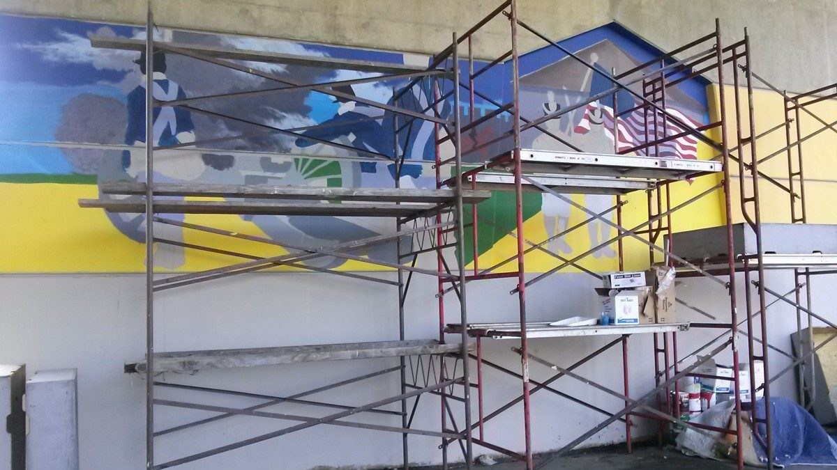 Paint by numbers mural in progress