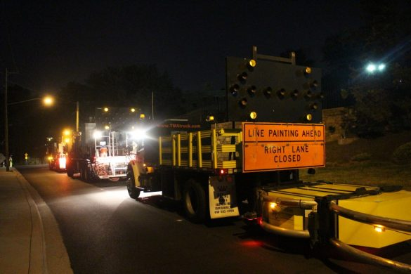 Line striping equipment on 40th Pl.