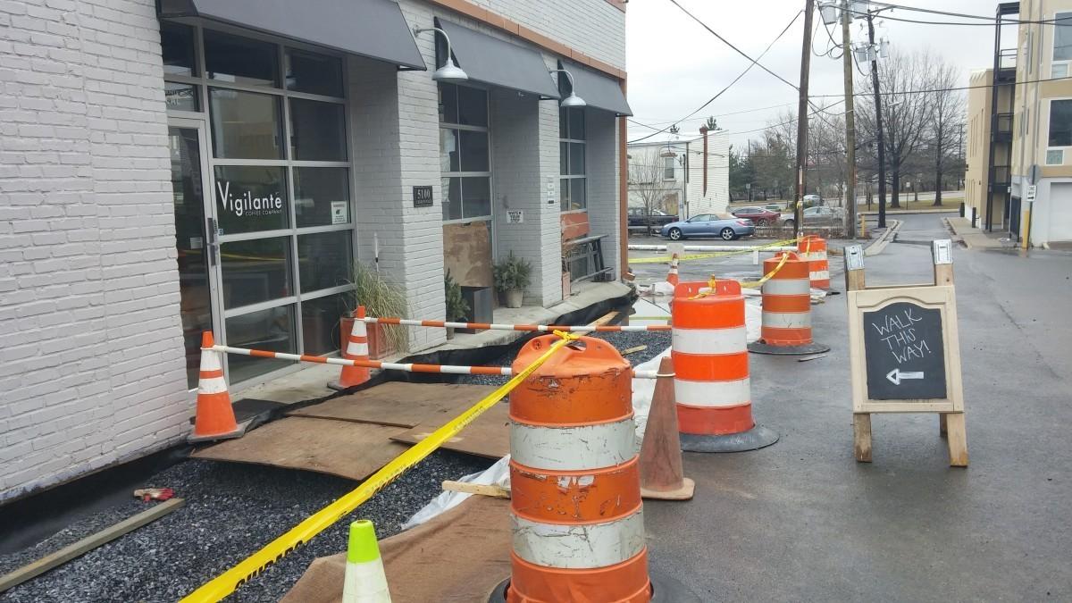 Construction begins outside Vigilante Coffee; shop still open