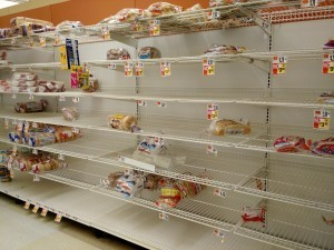 The bread shelf at Giant on East West Highway at 10 a.m. Thursday. Photo courtesy Susie Currie.