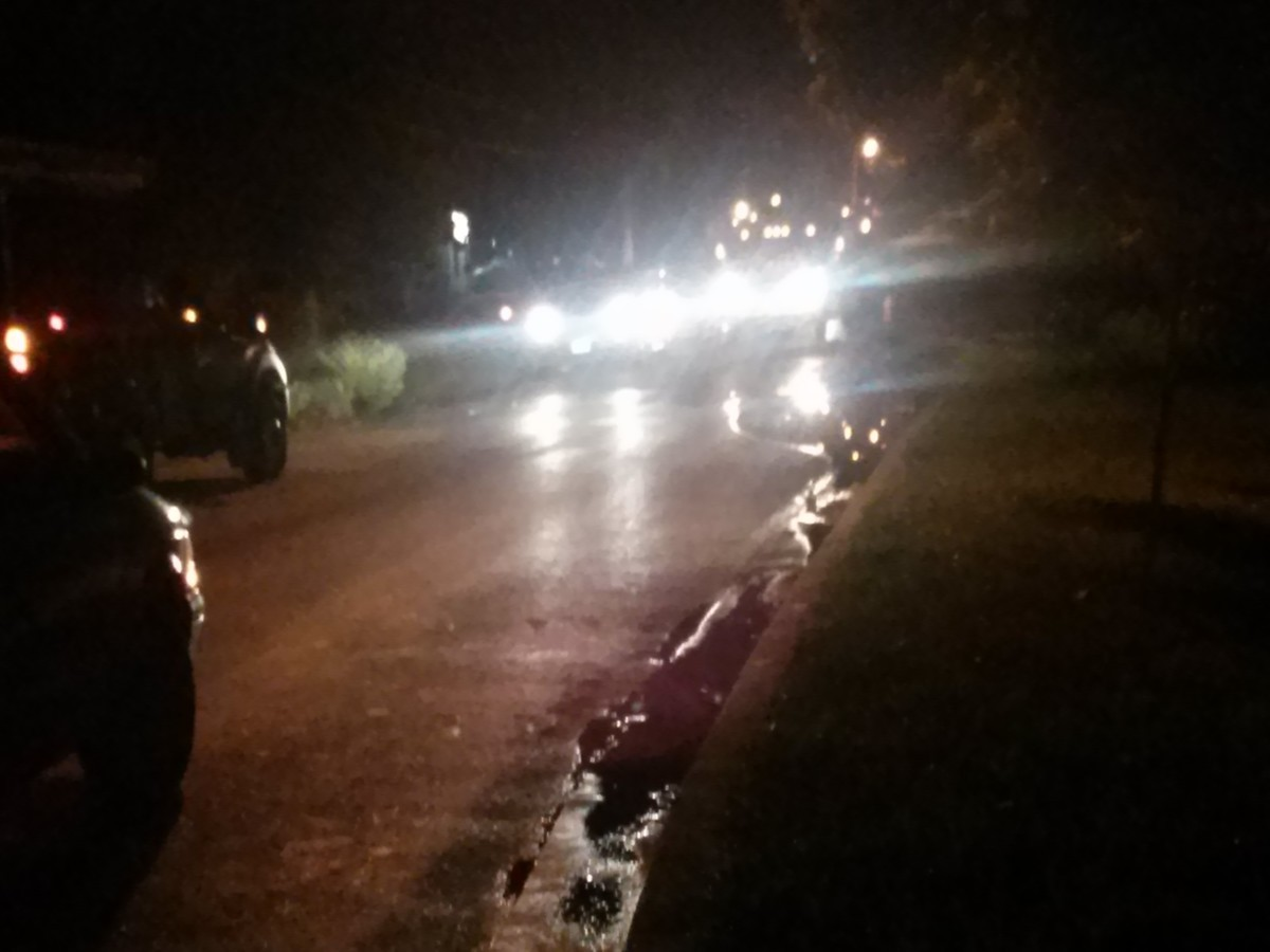 Crews are working Tuesday night to repair the water main.  Tanglewood Drive is closed near Baltimore Avenue.  Photo courtesy Rebecca Bennett.