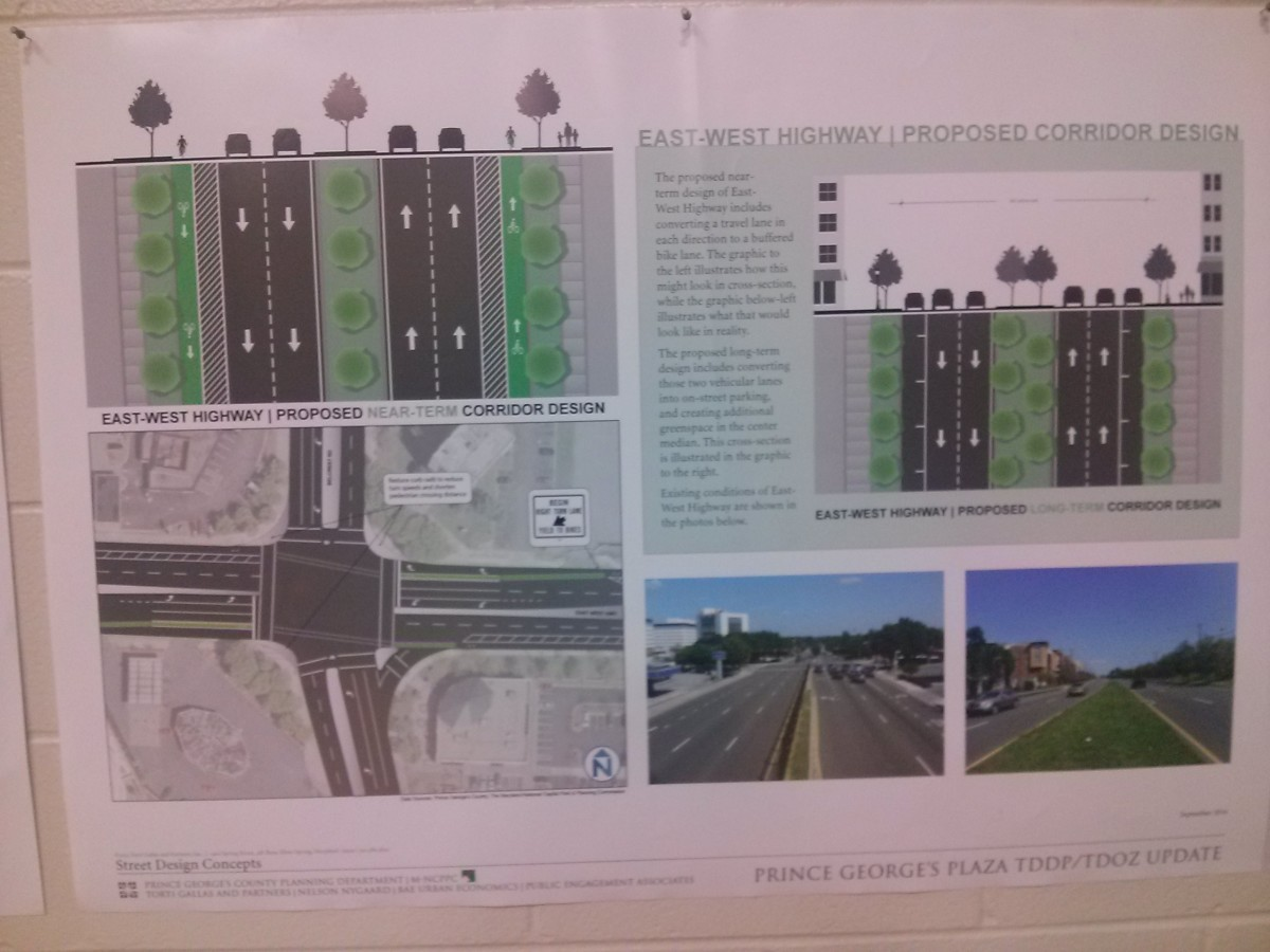 On Oct. 14, planners presented an updated concept plan for the area around the Prince George's Plaza Metro station, which included tree-linked streets and a central plaza. Photo courtesy Rebecca Bennett.