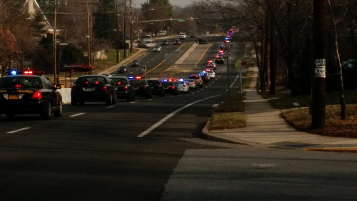 Approximately 100 police officers escorted children from area schools to the Mall at Prince Georges and Target. Photo courtesy Rebecca Bennett.
