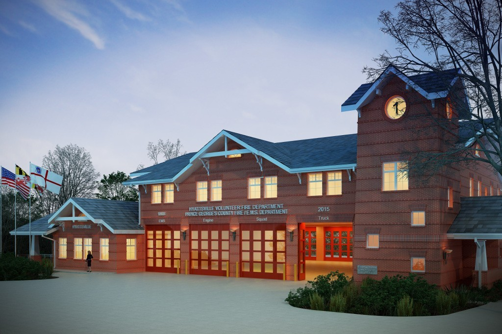 An artist's rendering of the planned emergency-services facility that is expected to begin construction in 2015 on the grounds of the Hyattsville Volunteer Fire Station, 6200 Belcrest Road. The HVFD will occupy two floors, with offices for the American Red Cross on the ground level.
