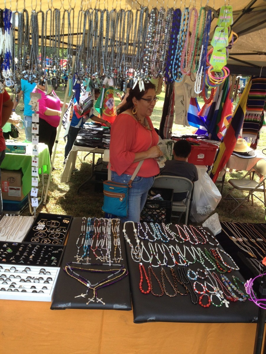 Vendors offered colorful jewelry and more at the annual Hispanic Heritage Festival at Lane Manor Park. Photo by Alexander Rubin Holt. (September 15, 2013).