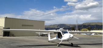 Hugh McElrath's 2006 Pipistrel Virus in its former home, a private airport in San Jose, California. This spring, he flew it to its new home in College Park. Photo by Chiwami Takagi.