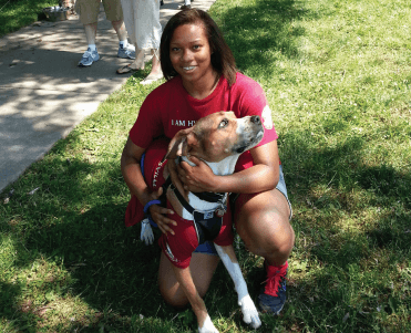 Alicia McNeill and top dog Lila, who won Best Overall in the 17th Annual Dogs for the Arts event, held June 1 at Magruder Park.