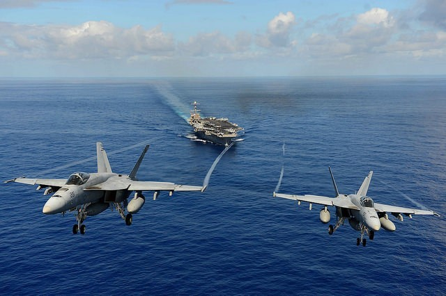 Two F/A-18E Super Hornets from the Tophatters of Strike Fighter Squadron (VFA) 14. Photo courtesy the U.S. Navy.